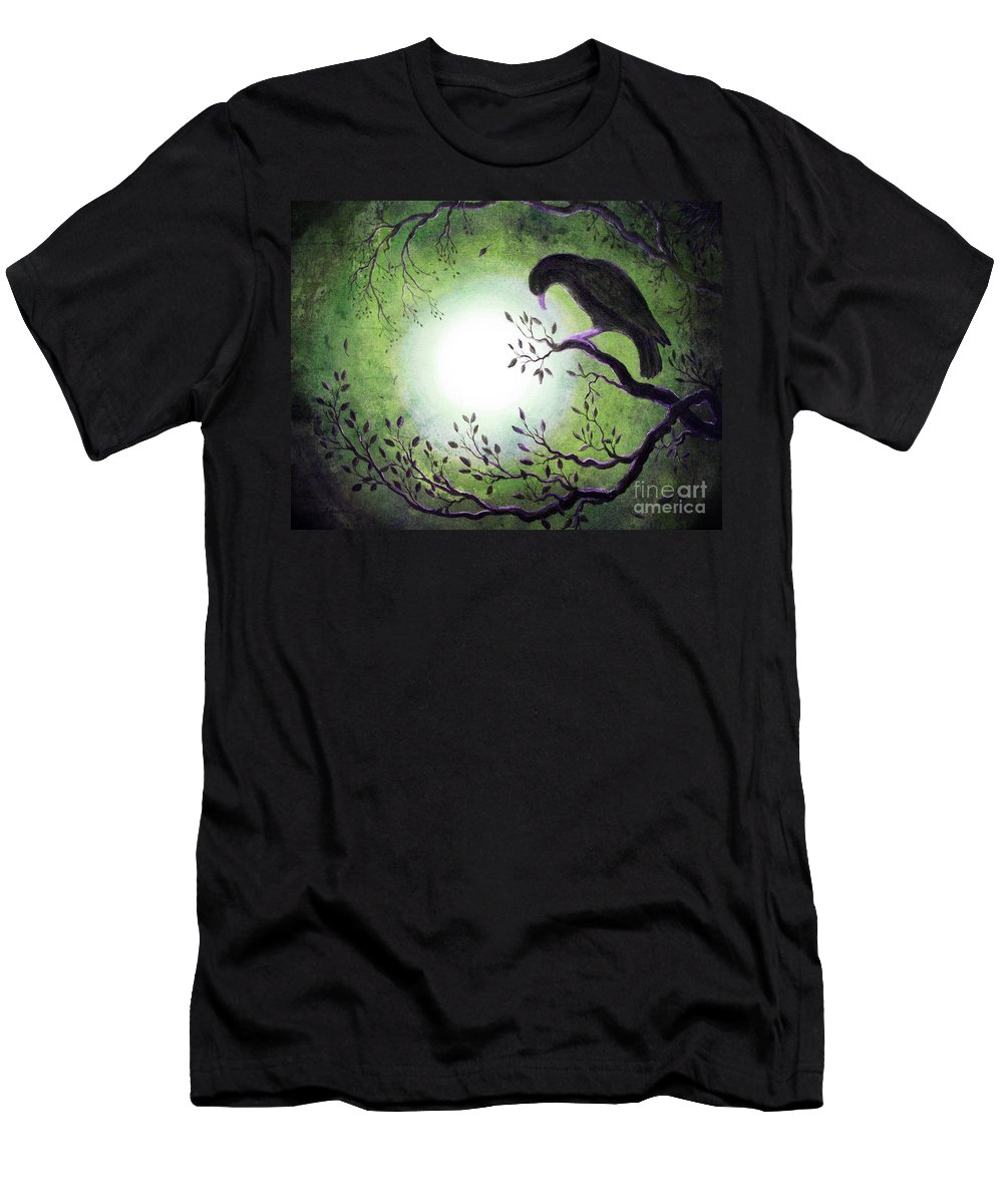 Crow Men's T-Shirt (Athletic Fit) featuring the digital art Ominous Bird In Somber Tones by Laura Iverson