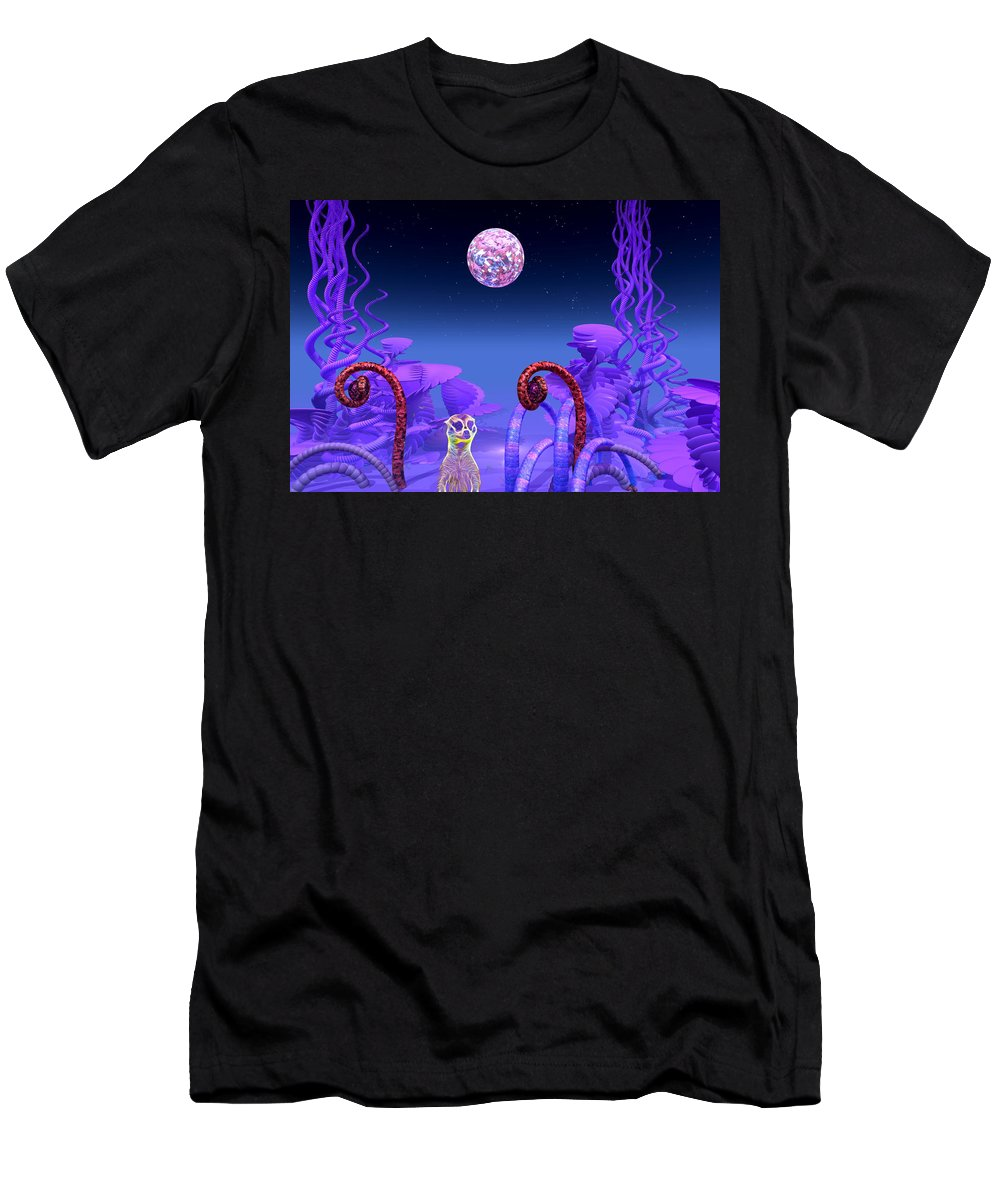 Meerkat Men's T-Shirt (Athletic Fit) featuring the mixed media On Another Planet by Douglas Barnard