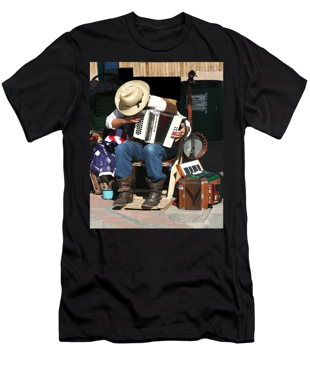 Music Men's T-Shirt (Athletic Fit) featuring the photograph One Man Band by Terry Fiala