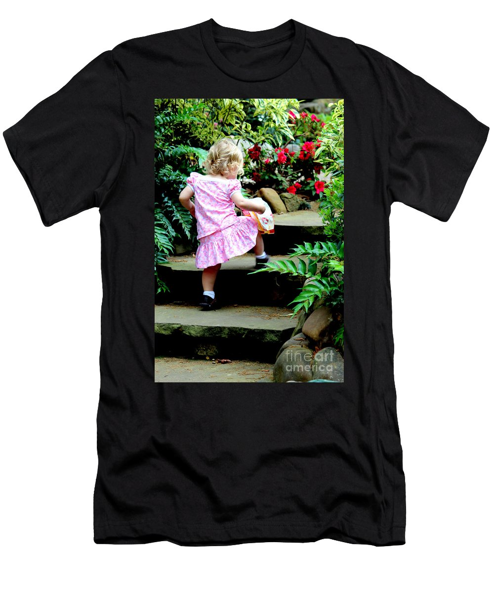 Child Photos Men's T-Shirt (Athletic Fit) featuring the photograph One Step At A Time by Kathy White