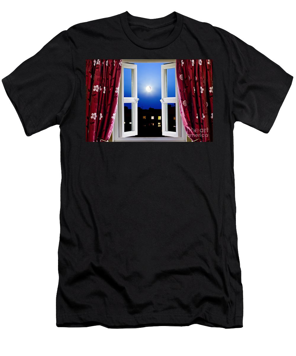 Night Men's T-Shirt (Athletic Fit) featuring the photograph Open Window At Night by Simon Bratt Photography LRPS