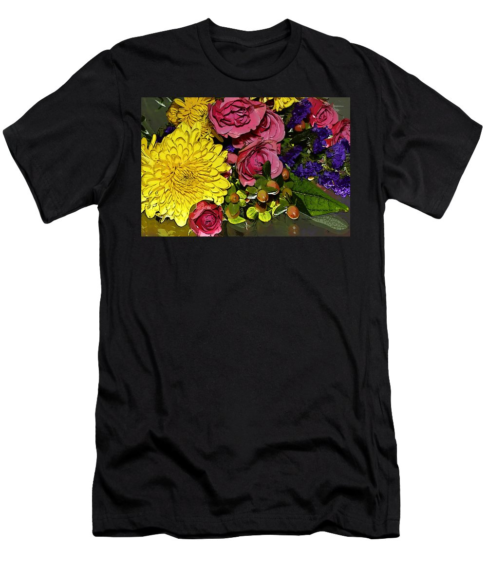 Flowers Men's T-Shirt (Athletic Fit) featuring the photograph Painted Bouquet by Phyllis Denton