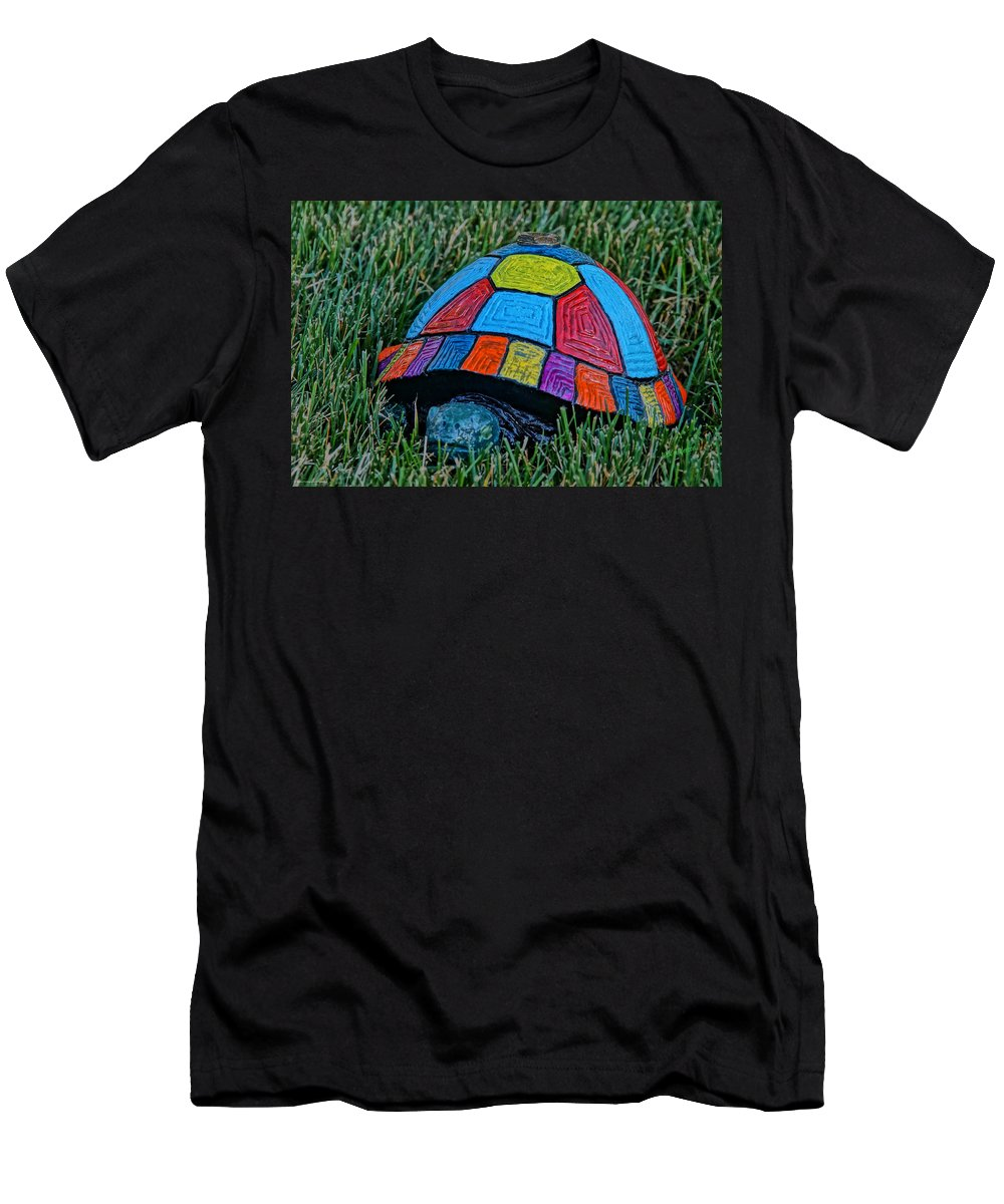 Painted Men's T-Shirt (Athletic Fit) featuring the photograph Painted Turtle Sprinkler by Mick Anderson