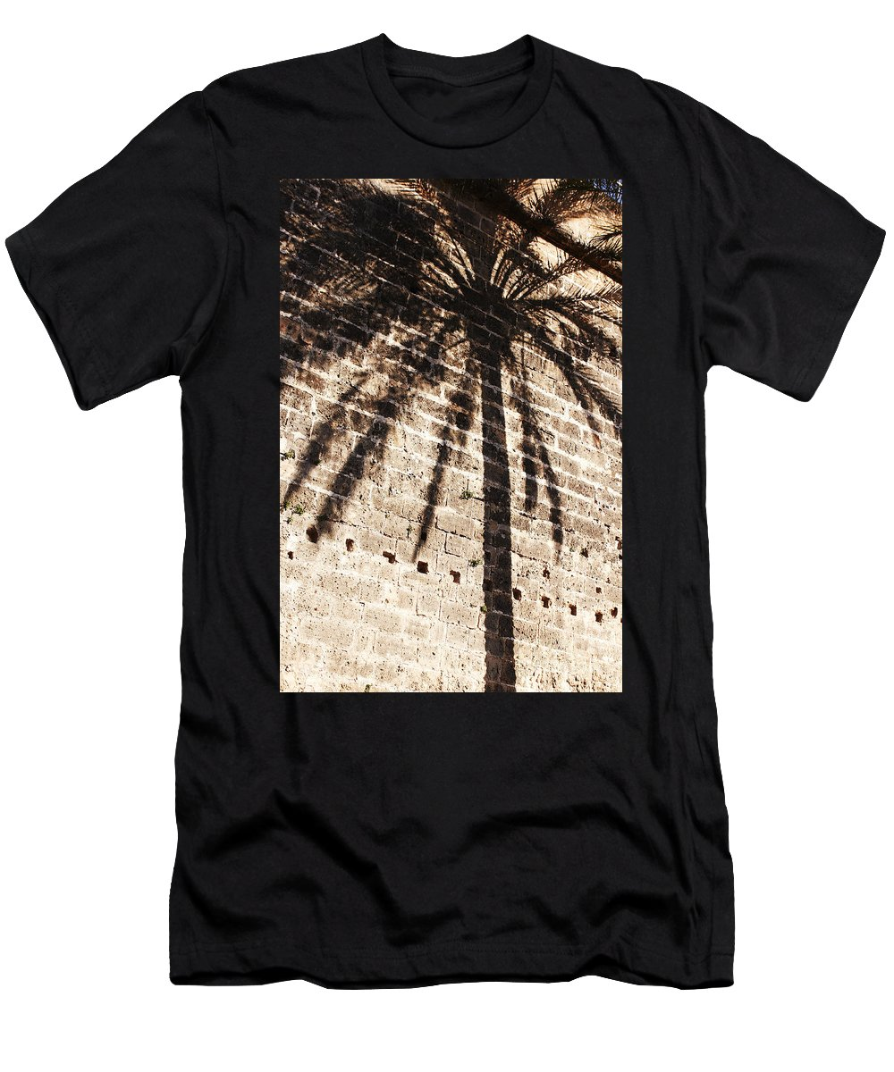 Palmera Men's T-Shirt (Athletic Fit) featuring the photograph Palm Shadow by Agusti Pardo Rossello