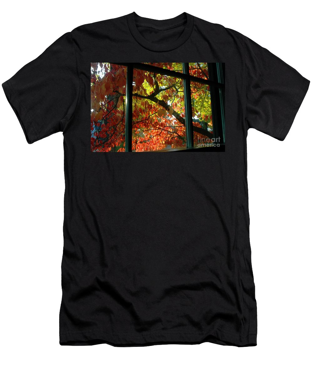 Leaves Men's T-Shirt (Athletic Fit) featuring the photograph Pane Frames by Trish Hale