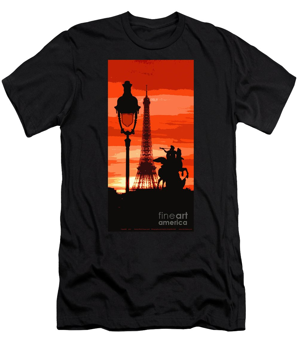 Paris Men's T-Shirt (Athletic Fit) featuring the photograph Paris Tour Eiffel Red by Yuriy Shevchuk