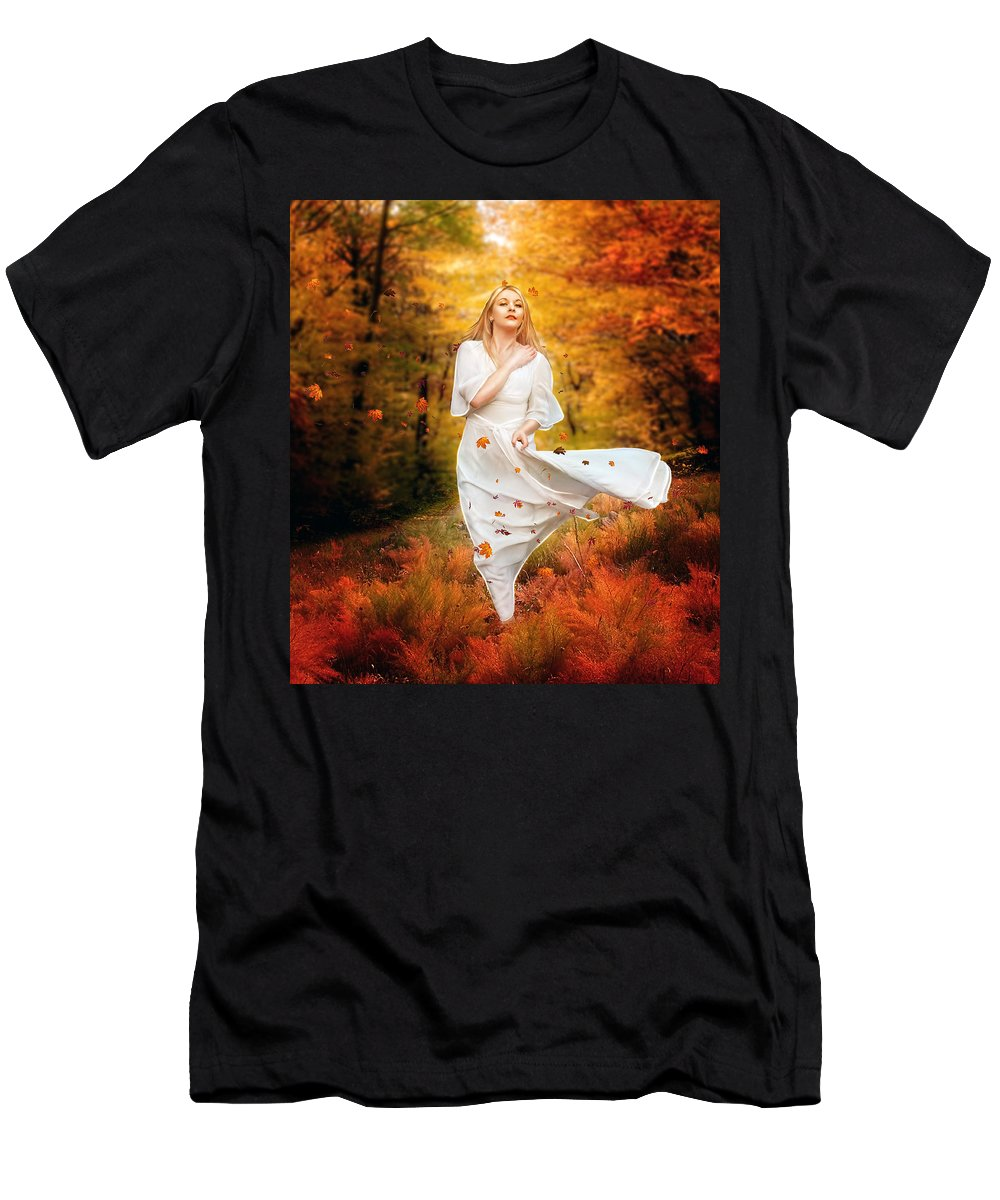 Fall Men's T-Shirt (Athletic Fit) featuring the digital art Path Of Fall by Karen Koski