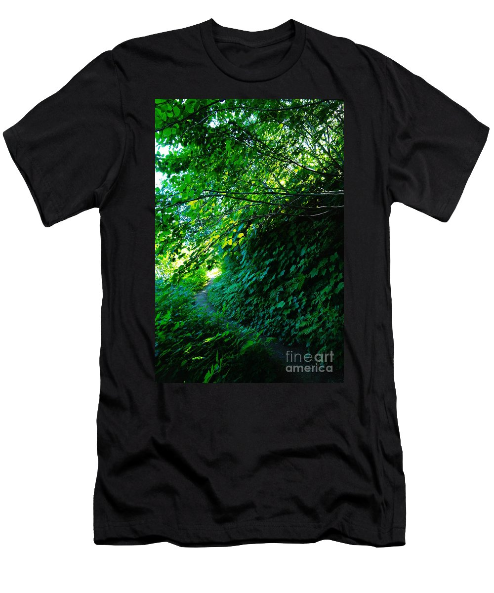 Leaves Men's T-Shirt (Athletic Fit) featuring the photograph Pathway by Jeff Swan