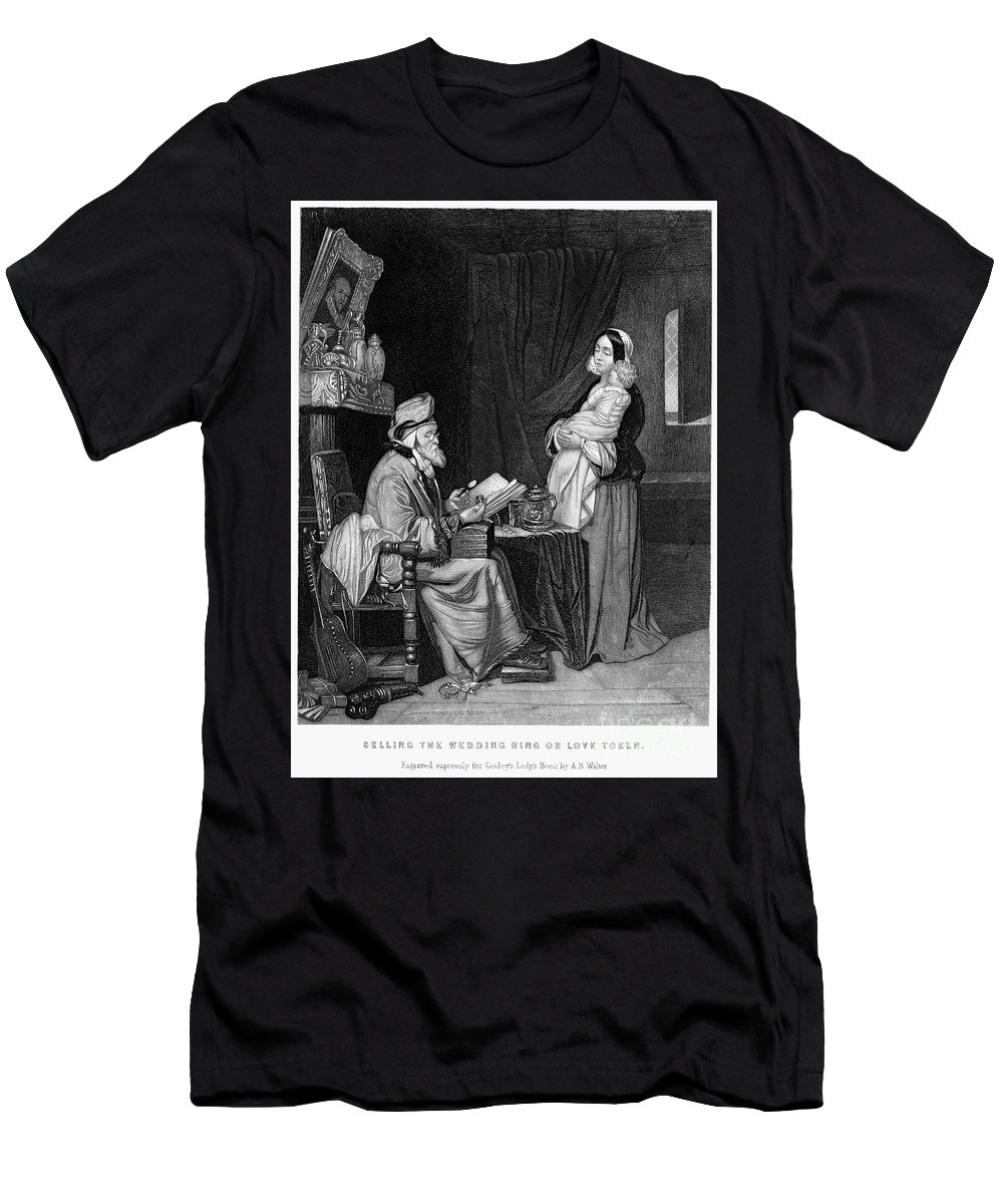 19th Century Men's T-Shirt (Athletic Fit) featuring the photograph Pawning, 19th Century by Granger