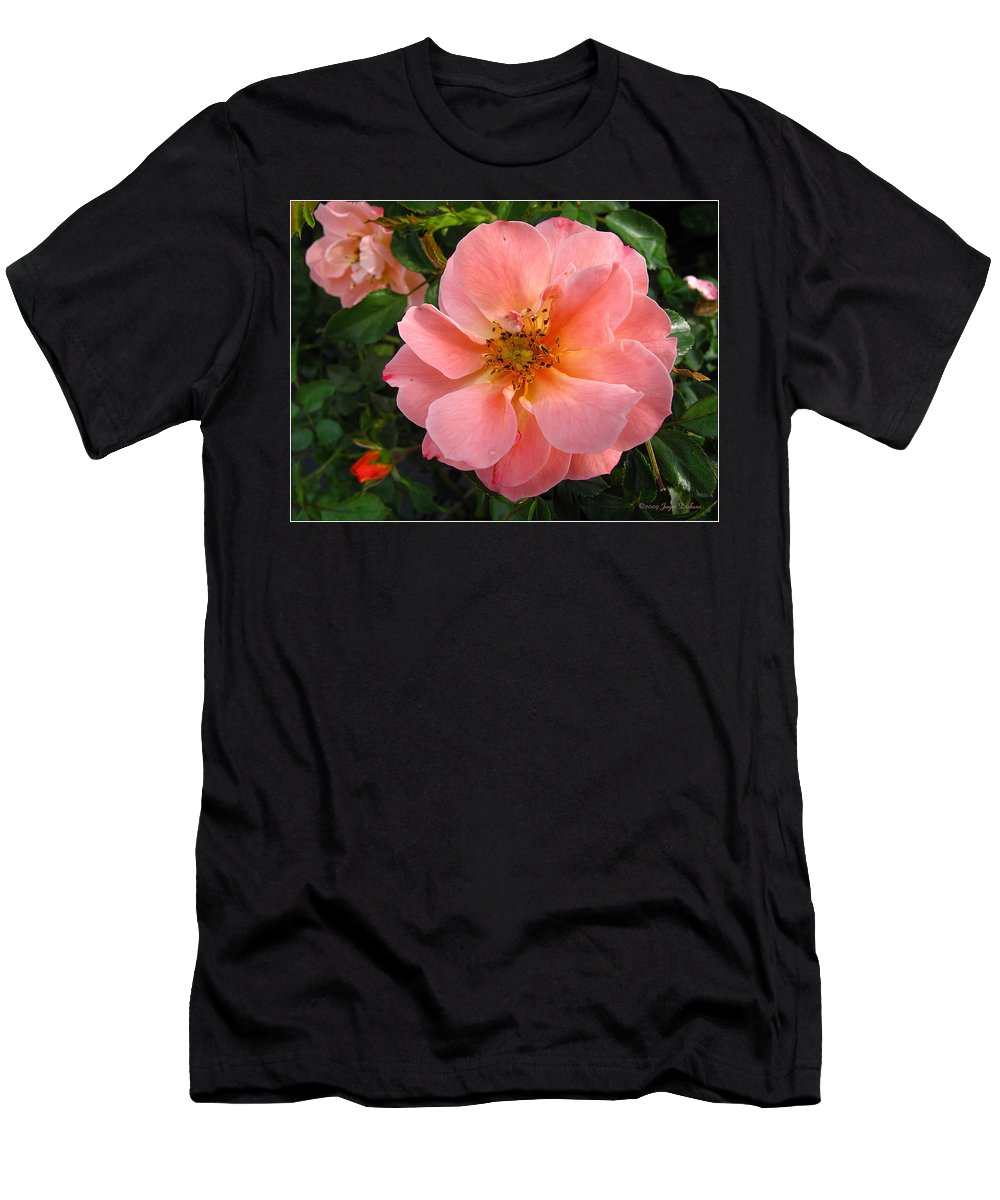 Rose Men's T-Shirt (Athletic Fit) featuring the photograph Peach Rose by Joyce Dickens