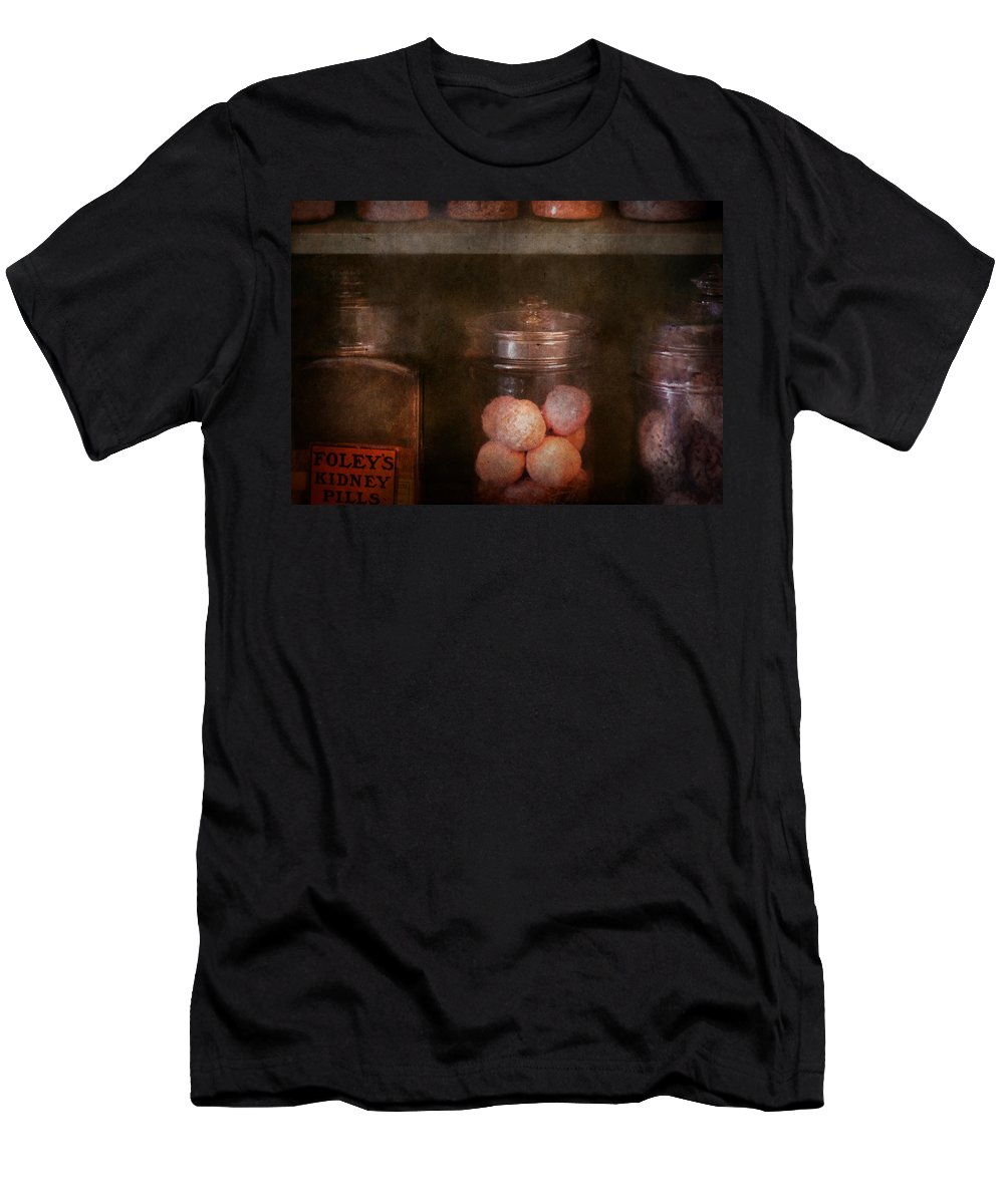 Hdr Men's T-Shirt (Athletic Fit) featuring the photograph Pharmacy - Kidney Pills And Suppositories by Mike Savad