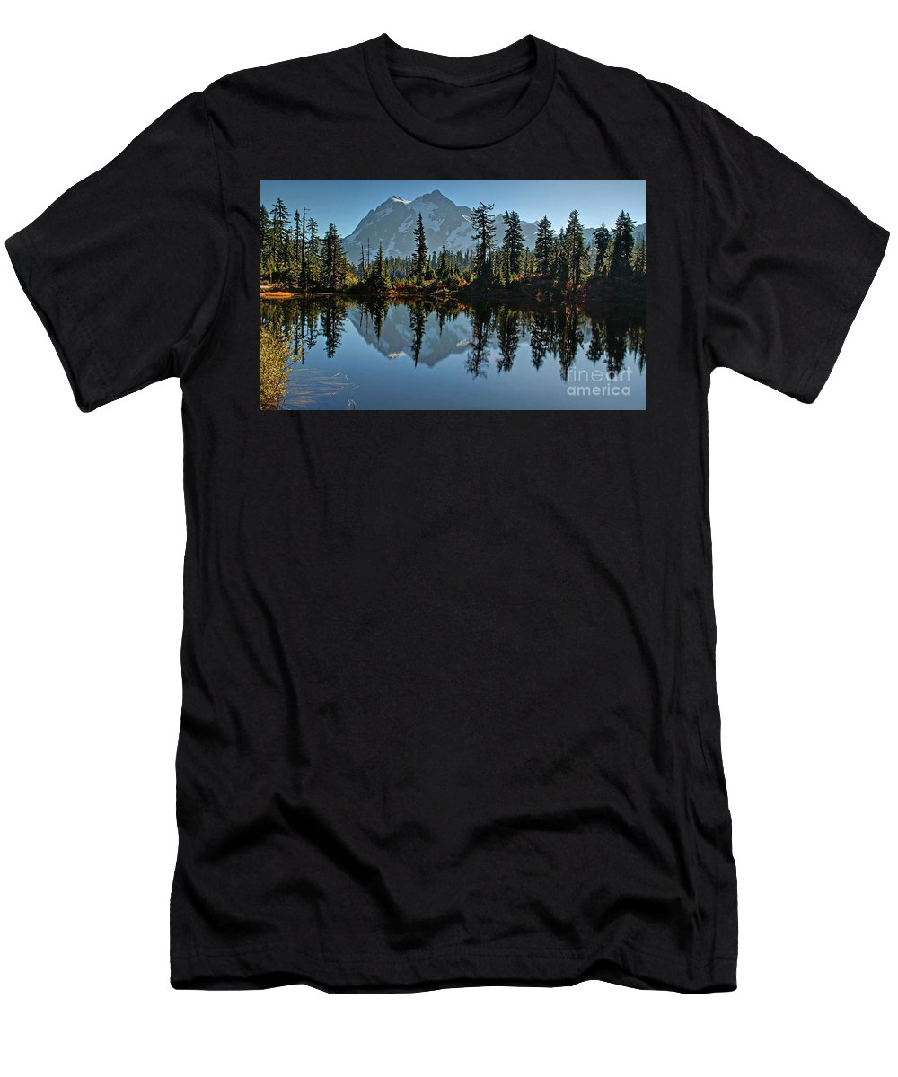 Mountain Men's T-Shirt (Athletic Fit) featuring the photograph Picture Lake - Heather Meadows Landscape In Autumn Art Prints by Valerie Garner