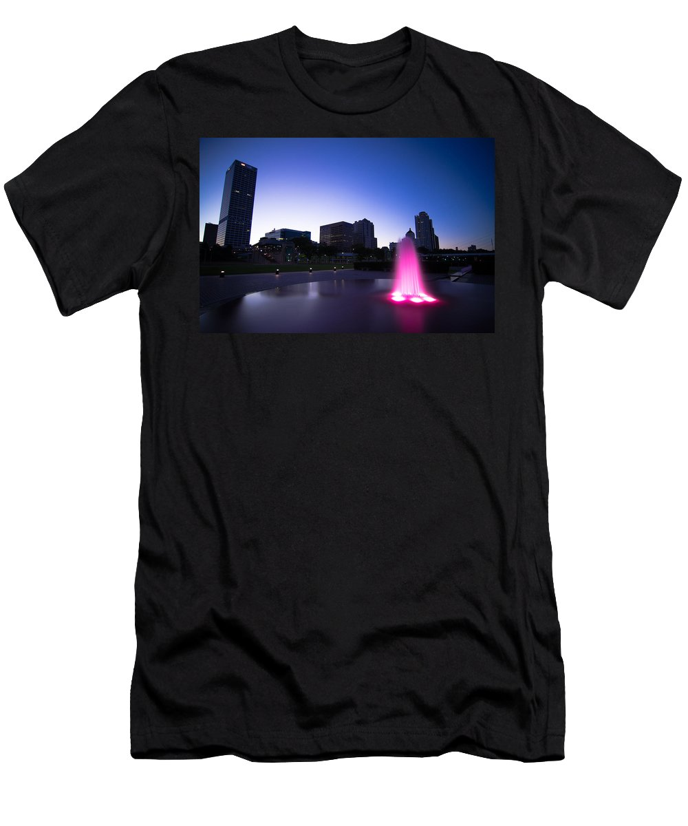 Water Fountain Men's T-Shirt (Athletic Fit) featuring the photograph Pink Fountain by Jonah Anderson