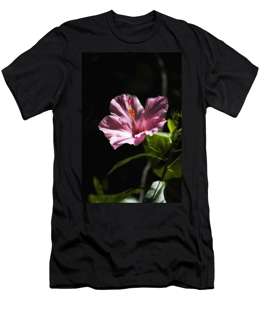 Florals Men's T-Shirt (Athletic Fit) featuring the photograph Pink Hibiscus by Linda Dunn