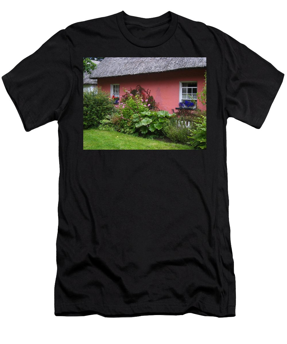 Ireland Men's T-Shirt (Athletic Fit) featuring the photograph Pink Irish Cottage by Bonnie Myszka