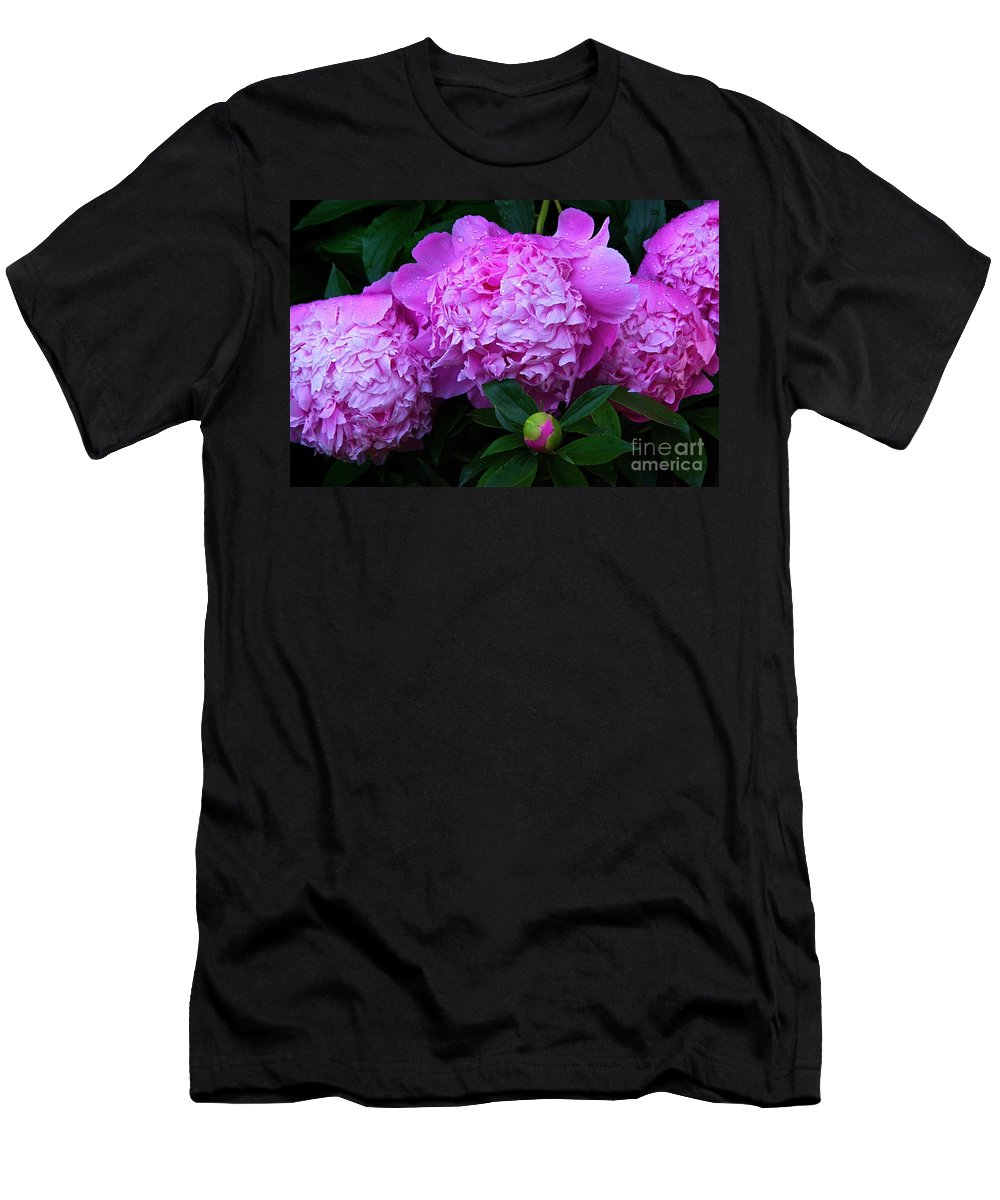 Pink Peonies Men's T-Shirt (Athletic Fit) featuring the photograph Pink Peonies In The Rain by Byron Varvarigos
