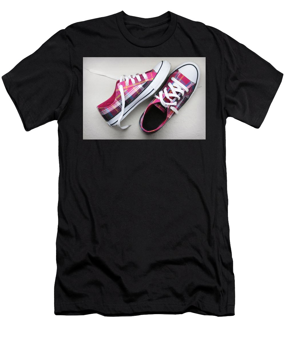 Shoes Men's T-Shirt (Athletic Fit) featuring the photograph Pink Sneakers by Masha Batkova