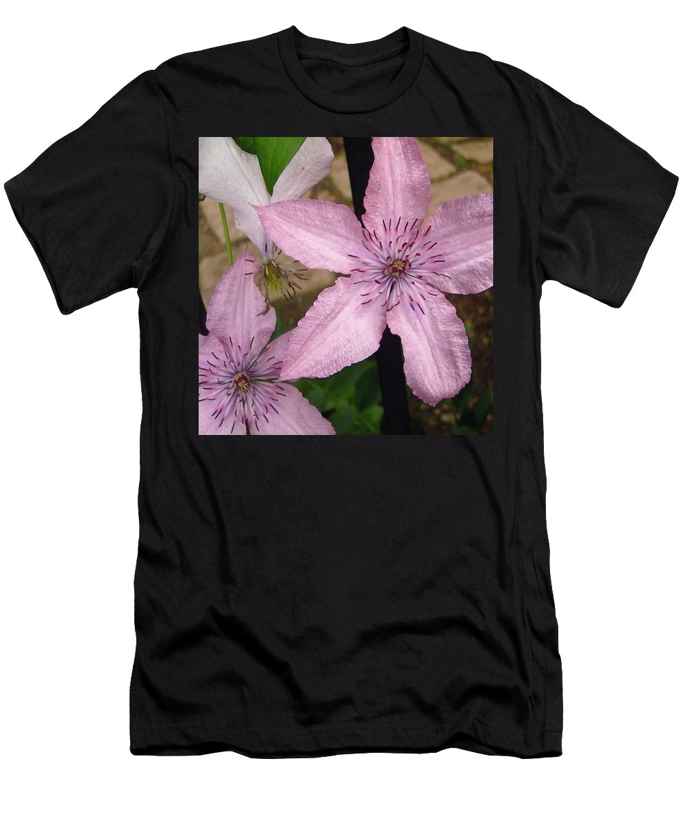 Flowers Men's T-Shirt (Athletic Fit) featuring the photograph Pink Stars by Stephanie Moore