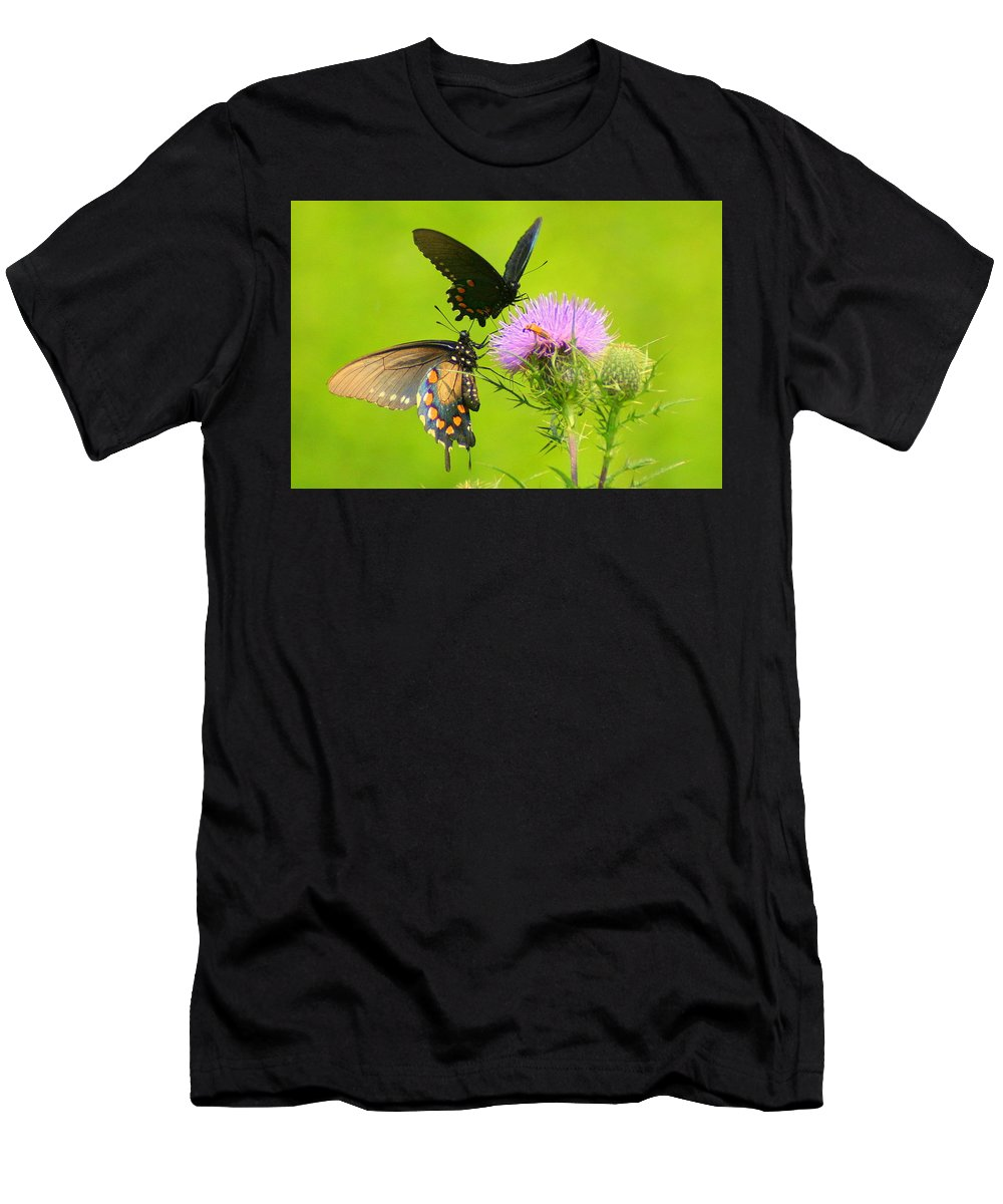 Pipevine Swallowtail Men's T-Shirt (Athletic Fit) featuring the photograph Pipevine Swallowtails In Tandem by Laurel Talabere