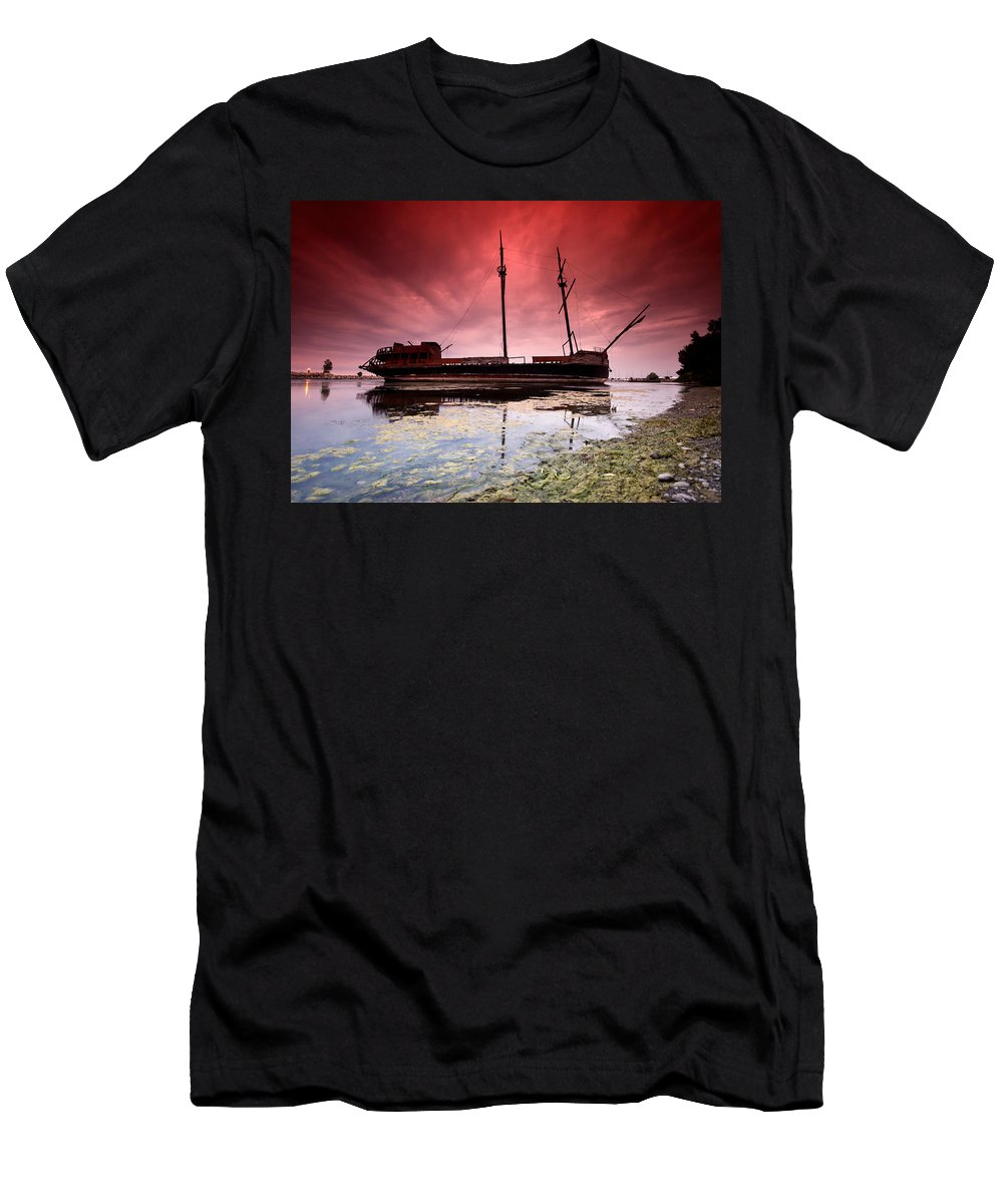 Abandoned Men's T-Shirt (Athletic Fit) featuring the photograph Pirate Ship by Cale Best