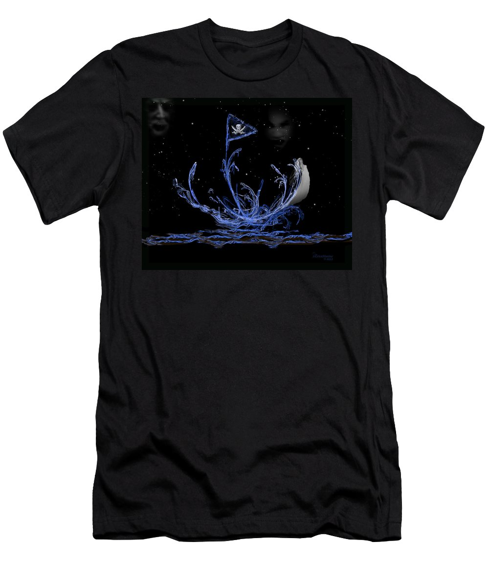 Pirates Men's T-Shirt (Athletic Fit) featuring the digital art Pirate Ship by Ericamaxine Price
