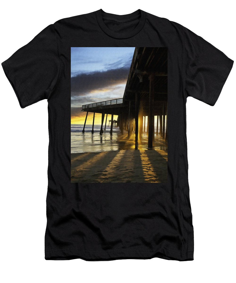 Pismo Beach Pier Men's T-Shirt (Athletic Fit) featuring the digital art Pismo Pier Sunset IIi by Sharon Foster