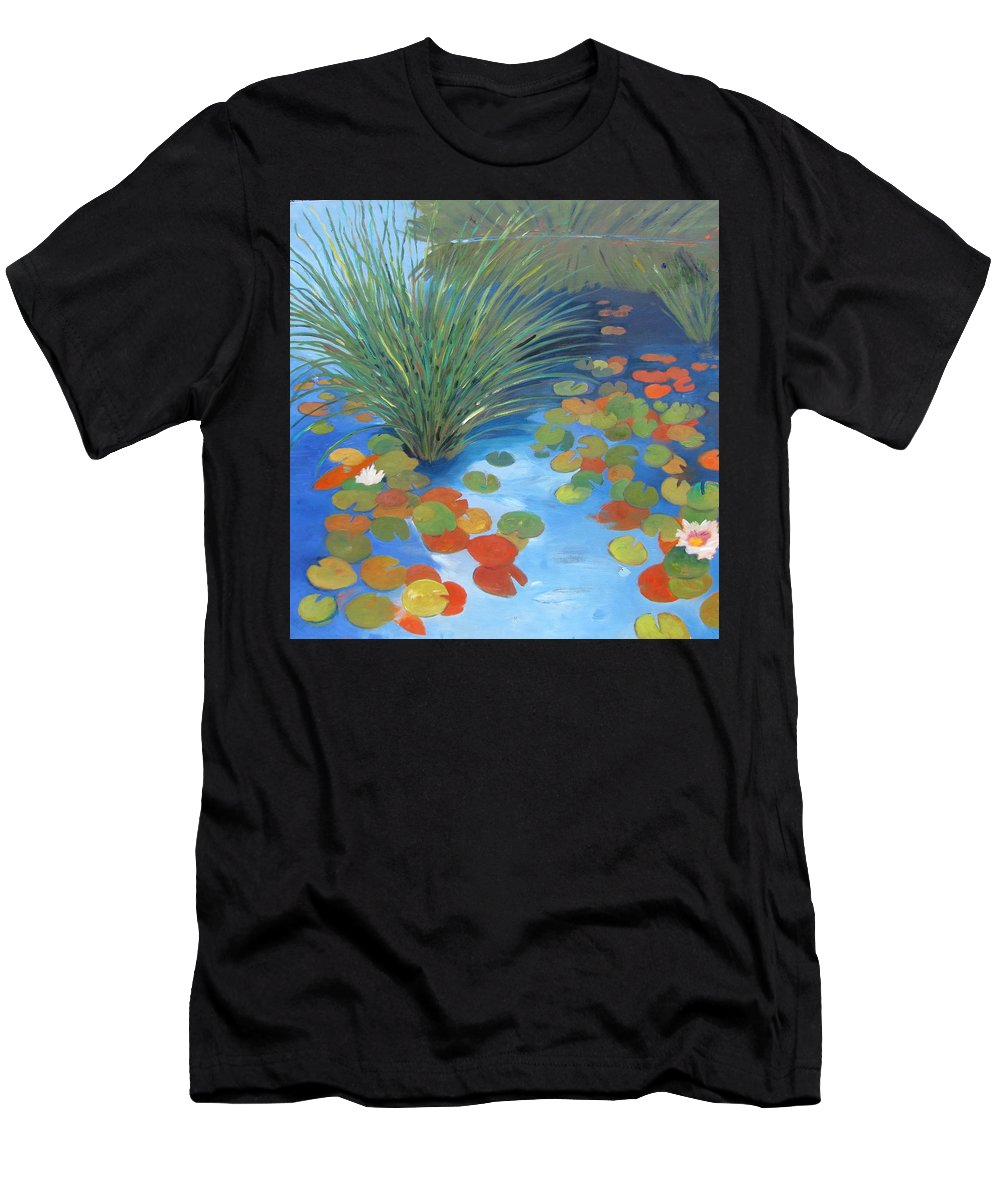 Pond Men's T-Shirt (Athletic Fit) featuring the painting Pond Revisited by Gary Coleman