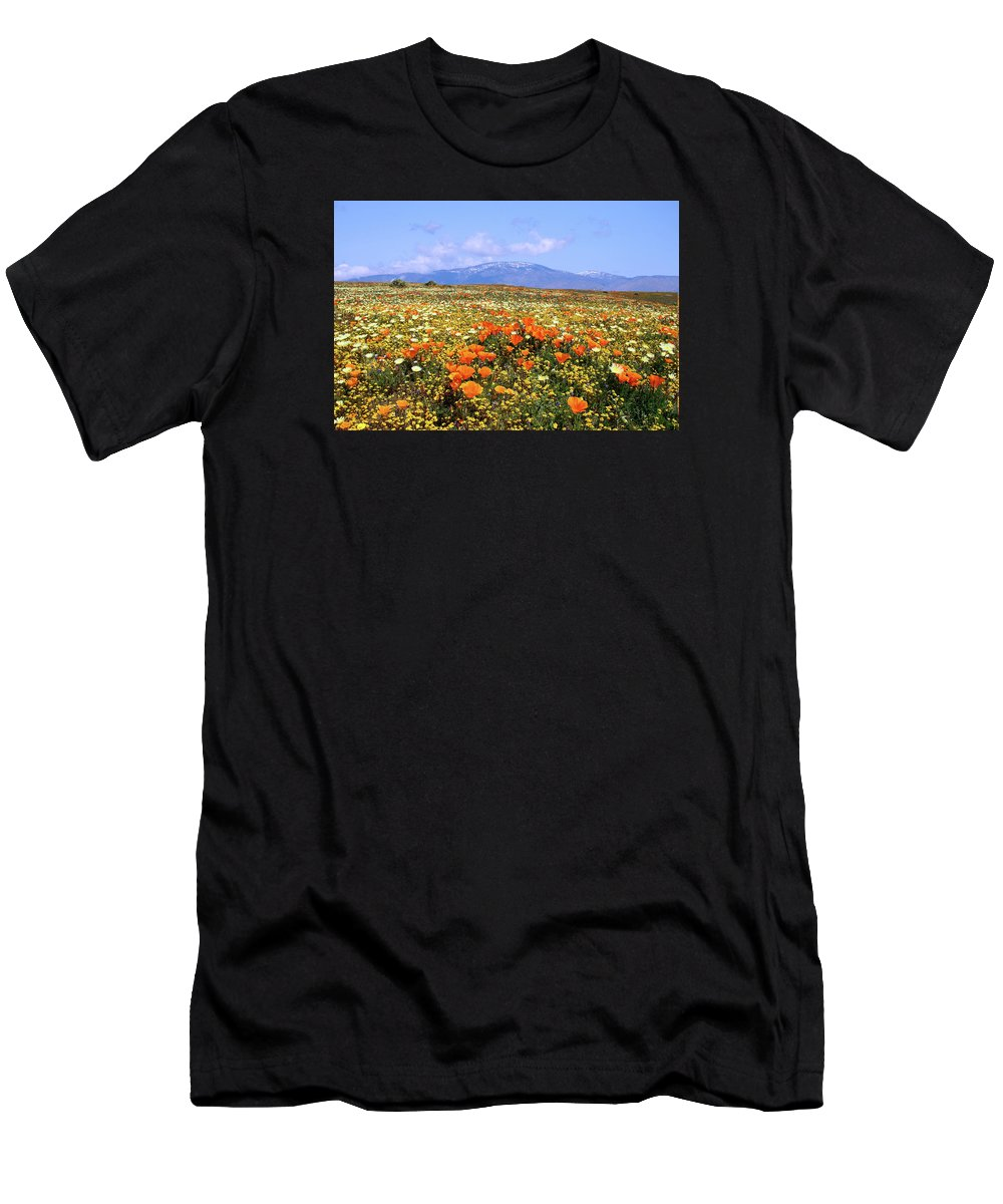 Antelope Valley Men's T-Shirt (Athletic Fit) featuring the photograph Poppies Over The Mountain by Peter Tellone
