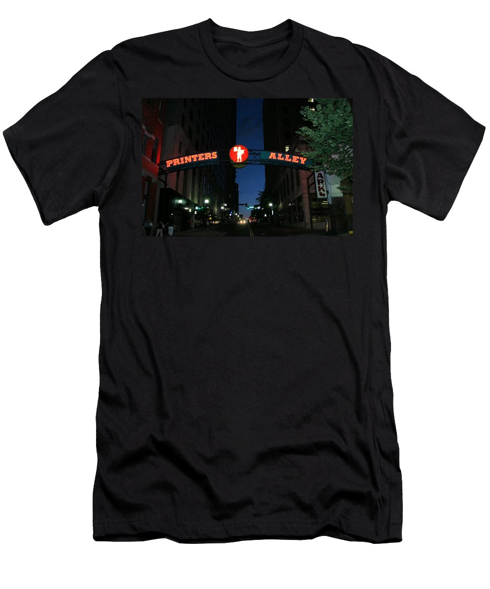 Printers Alley Men's T-Shirt (Athletic Fit) featuring the photograph Printers Alley In Nashville by Kristin Elmquist