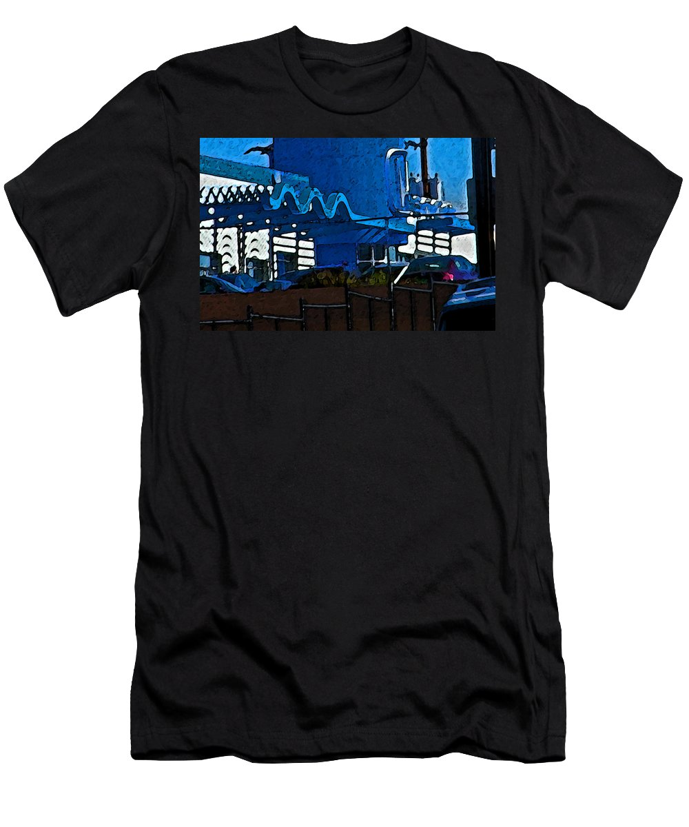 Abstract Men's T-Shirt (Athletic Fit) featuring the photograph Pueblo Downtown Blue Abstract by Lenore Senior