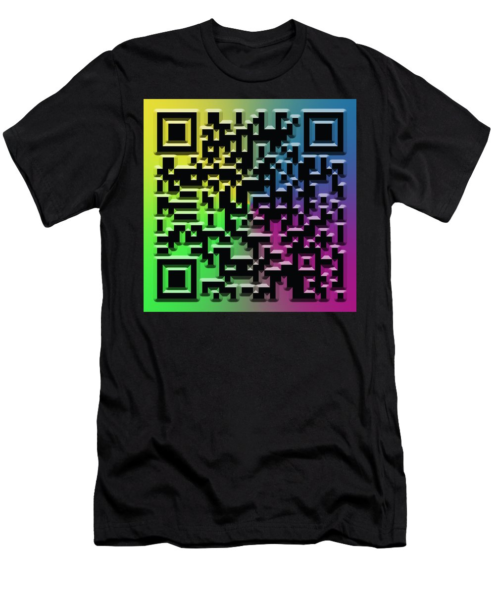 Abstract Men's T-Shirt (Athletic Fit) featuring the digital art Qr Art by Ricky Barnard