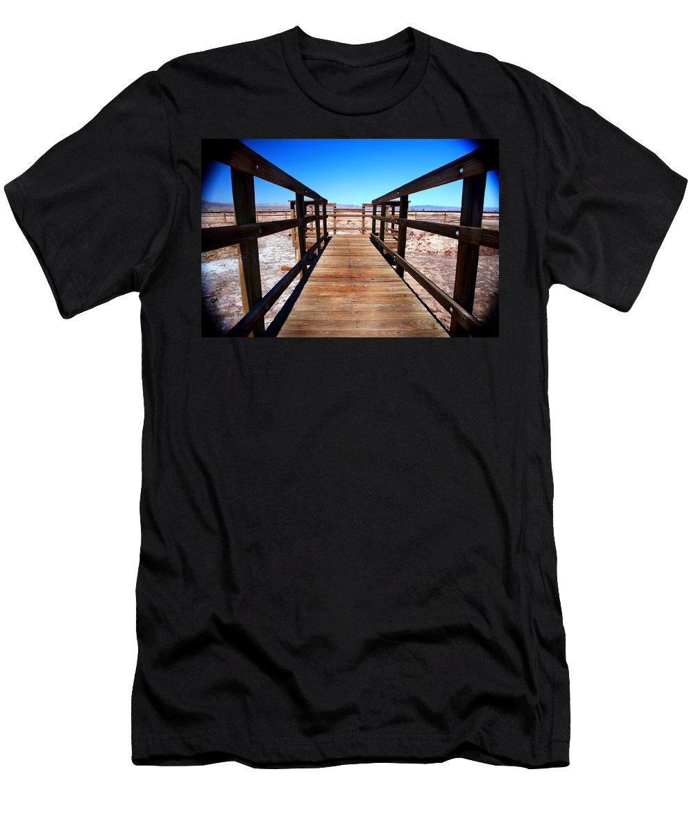 Salton Sea Men's T-Shirt (Athletic Fit) featuring the photograph Rail Path by Lon Casler Bixby
