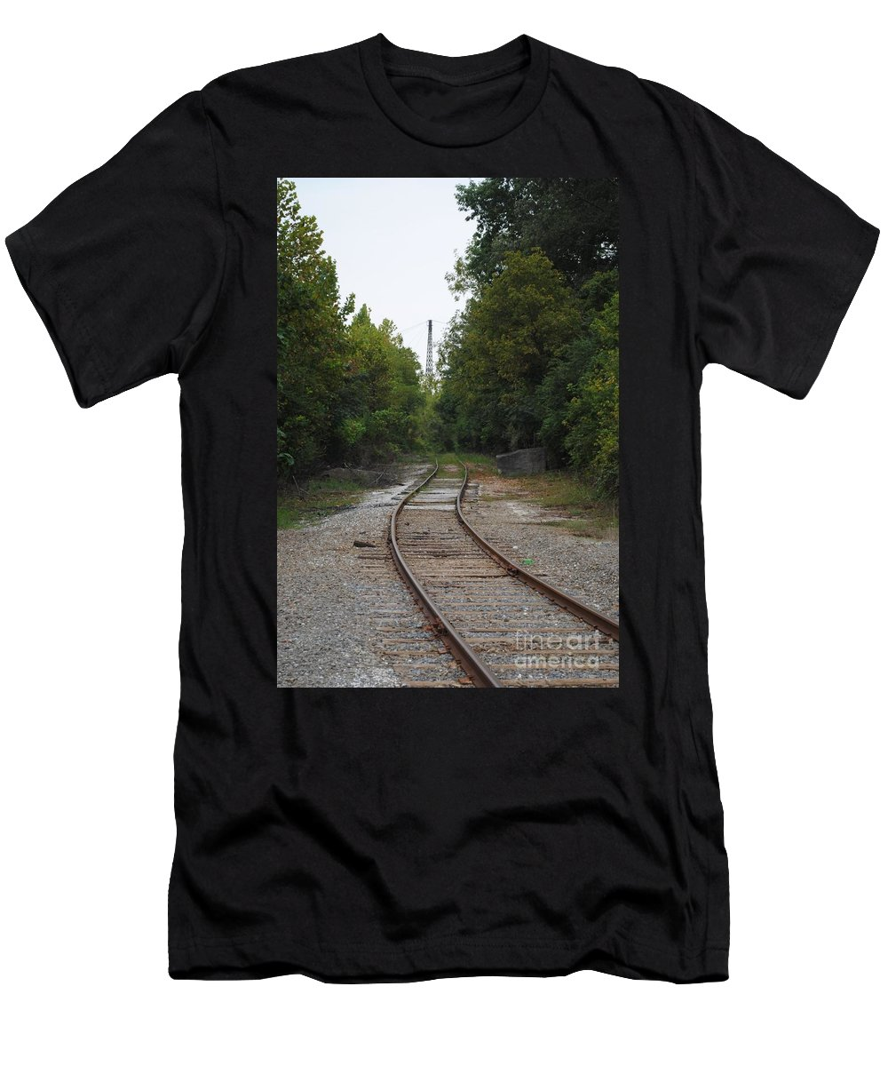 Rail Men's T-Shirt (Athletic Fit) featuring the photograph Rail To The Forest by Jost Houk