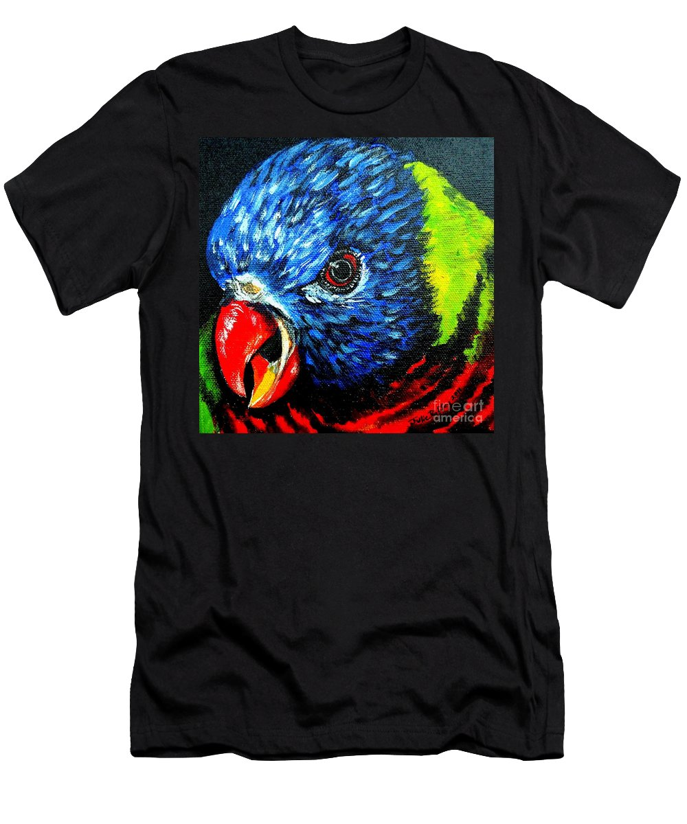 Rainbow Lorikeet Men's T-Shirt (Athletic Fit) featuring the painting Rainbow Lorikeet Look by Julie Brugh Riffey