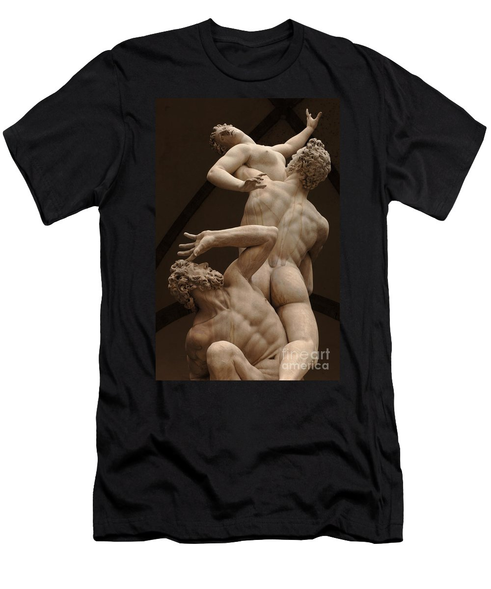 Rape Men's T-Shirt (Athletic Fit) featuring the photograph Rape Of Sabine Women 2 by Bob Christopher
