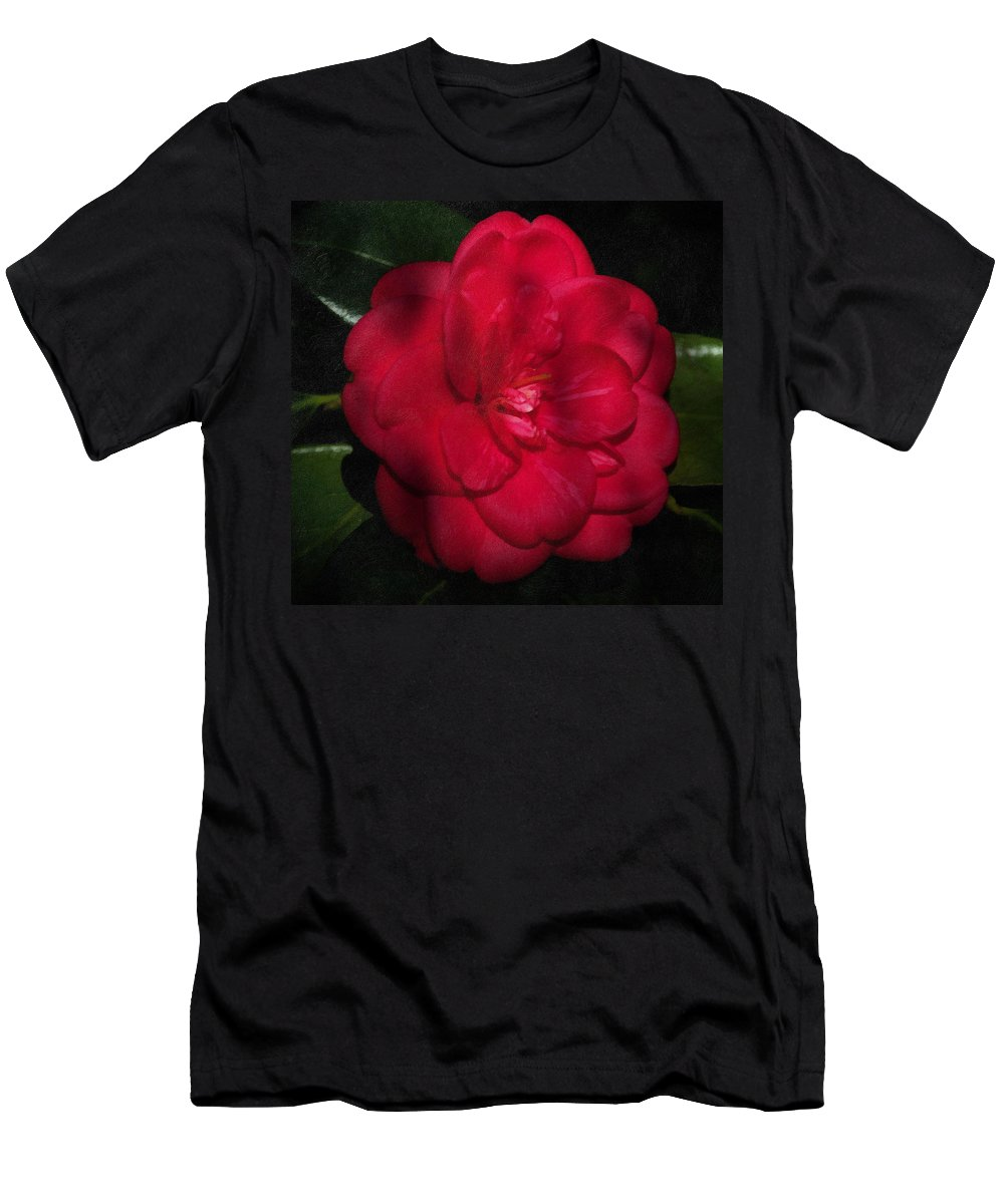 Camelia Men's T-Shirt (Athletic Fit) featuring the photograph Red Camelia by Georgiana Romanovna