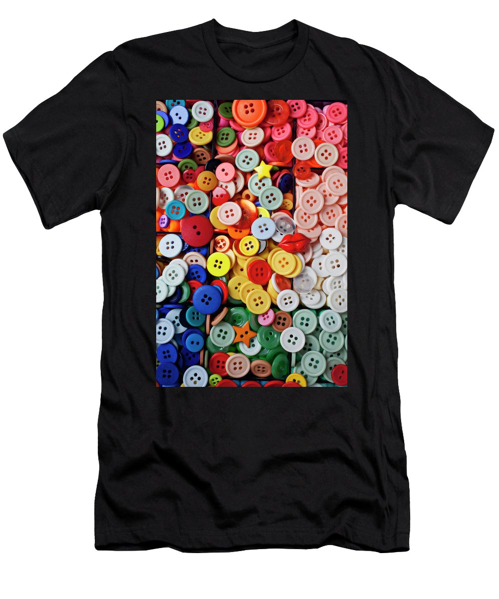 Buttons Sew Mend Affix Collect Men's T-Shirt (Athletic Fit) featuring the photograph Red Lips Button by Garry Gay