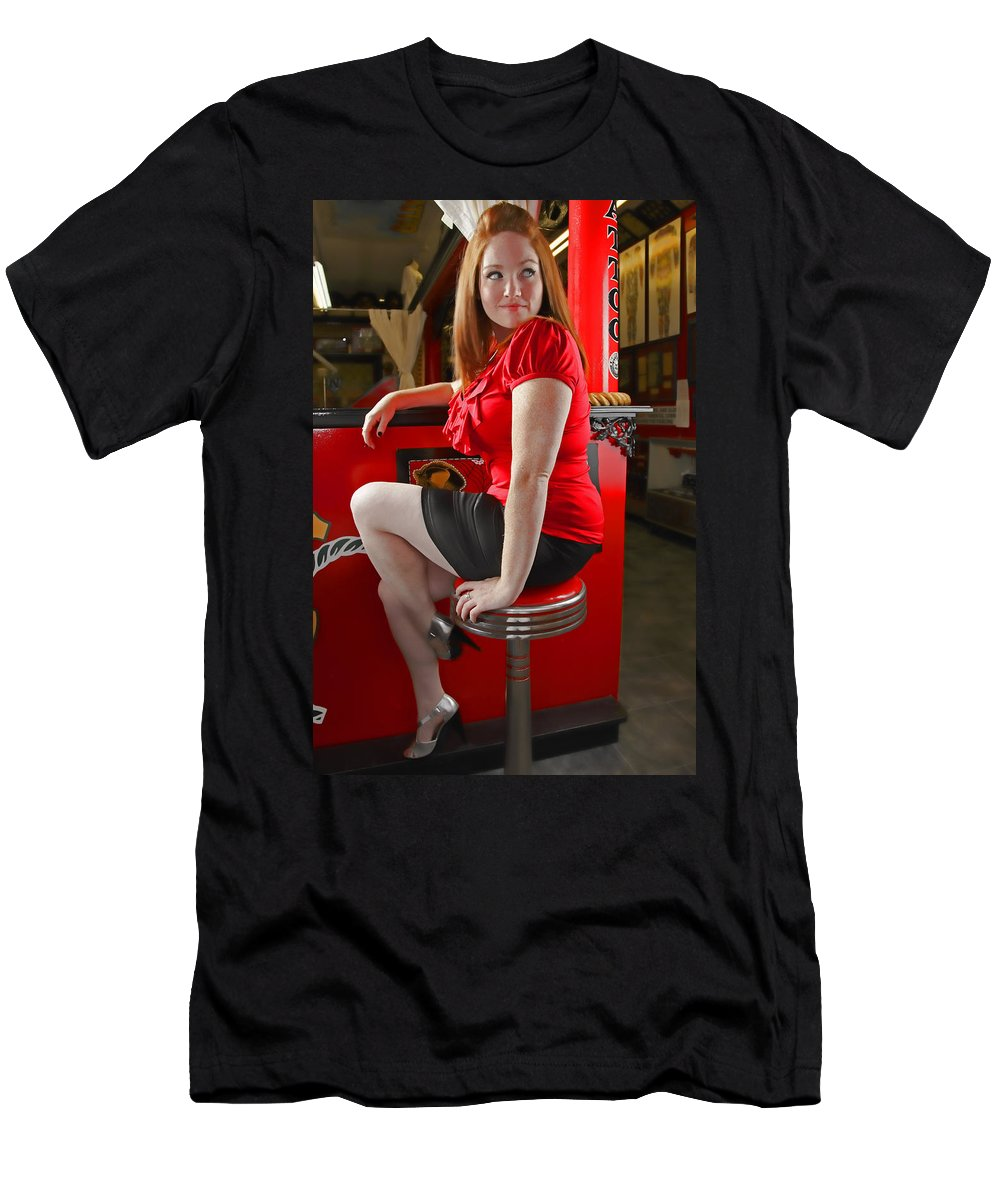 Redhead Men's T-Shirt (Athletic Fit) featuring the photograph Red by Rick Berk