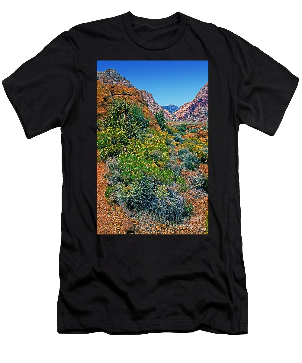 Nevada Men's T-Shirt (Athletic Fit) featuring the photograph Red Rock Park Spring Flowers by Rich Walter