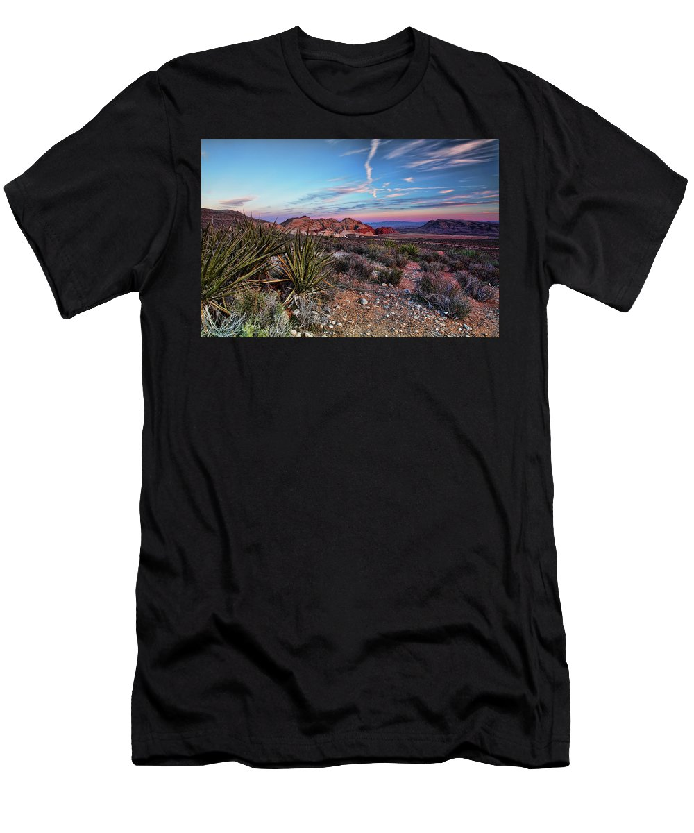 Nevada Men's T-Shirt (Athletic Fit) featuring the photograph Red Rock Sunset by Rick Berk