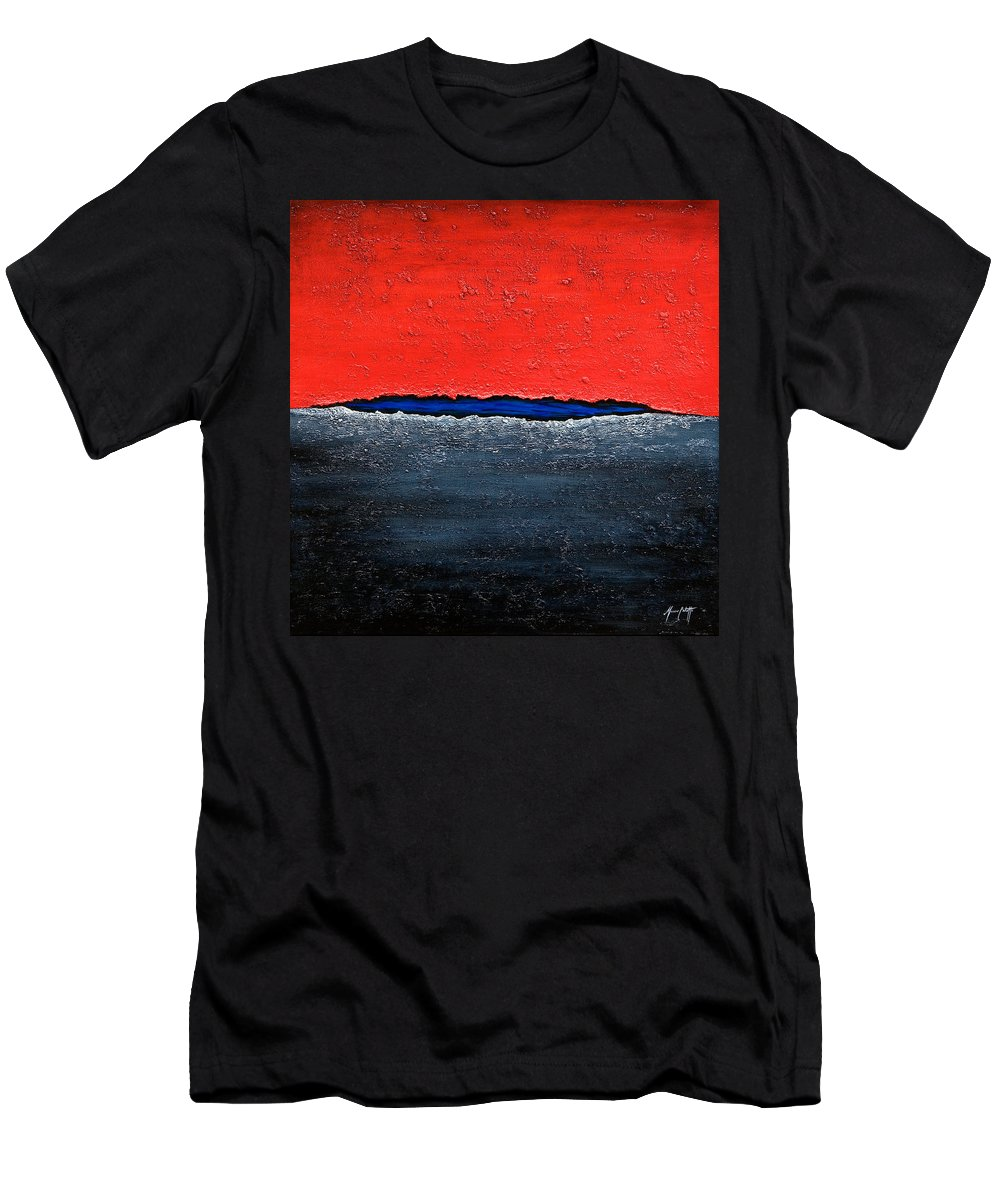 Art Men's T-Shirt (Athletic Fit) featuring the painting Red Sky by Mauro Celotti
