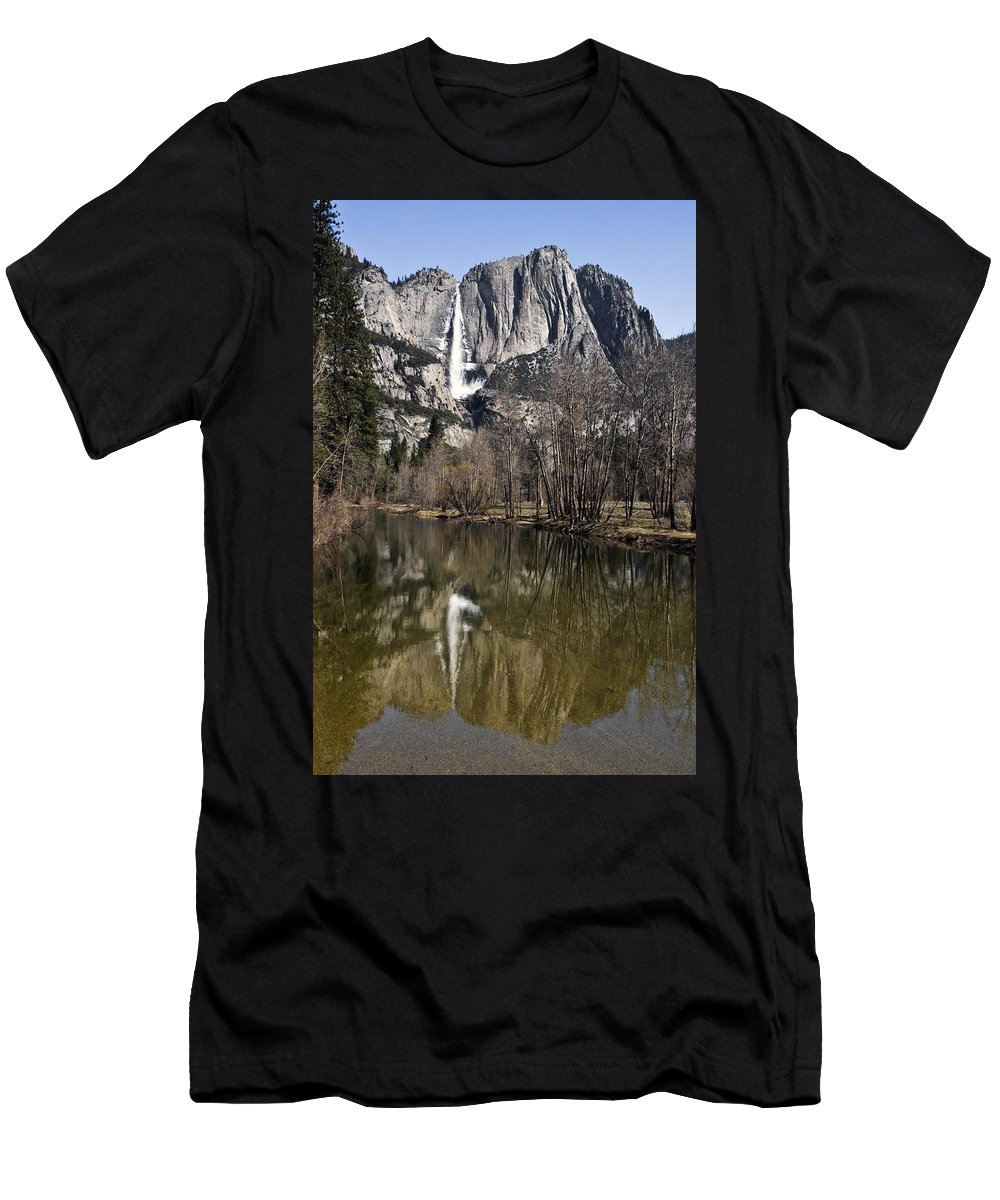 Reflections In The Merced Men's T-Shirt (Athletic Fit) featuring the photograph Reflections In The Merced by Wes and Dotty Weber
