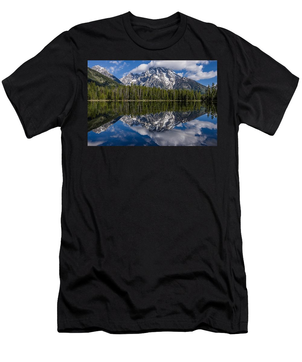 Grand Tetons National Park Men's T-Shirt (Athletic Fit) featuring the photograph Reflections On String Lake by Greg Nyquist