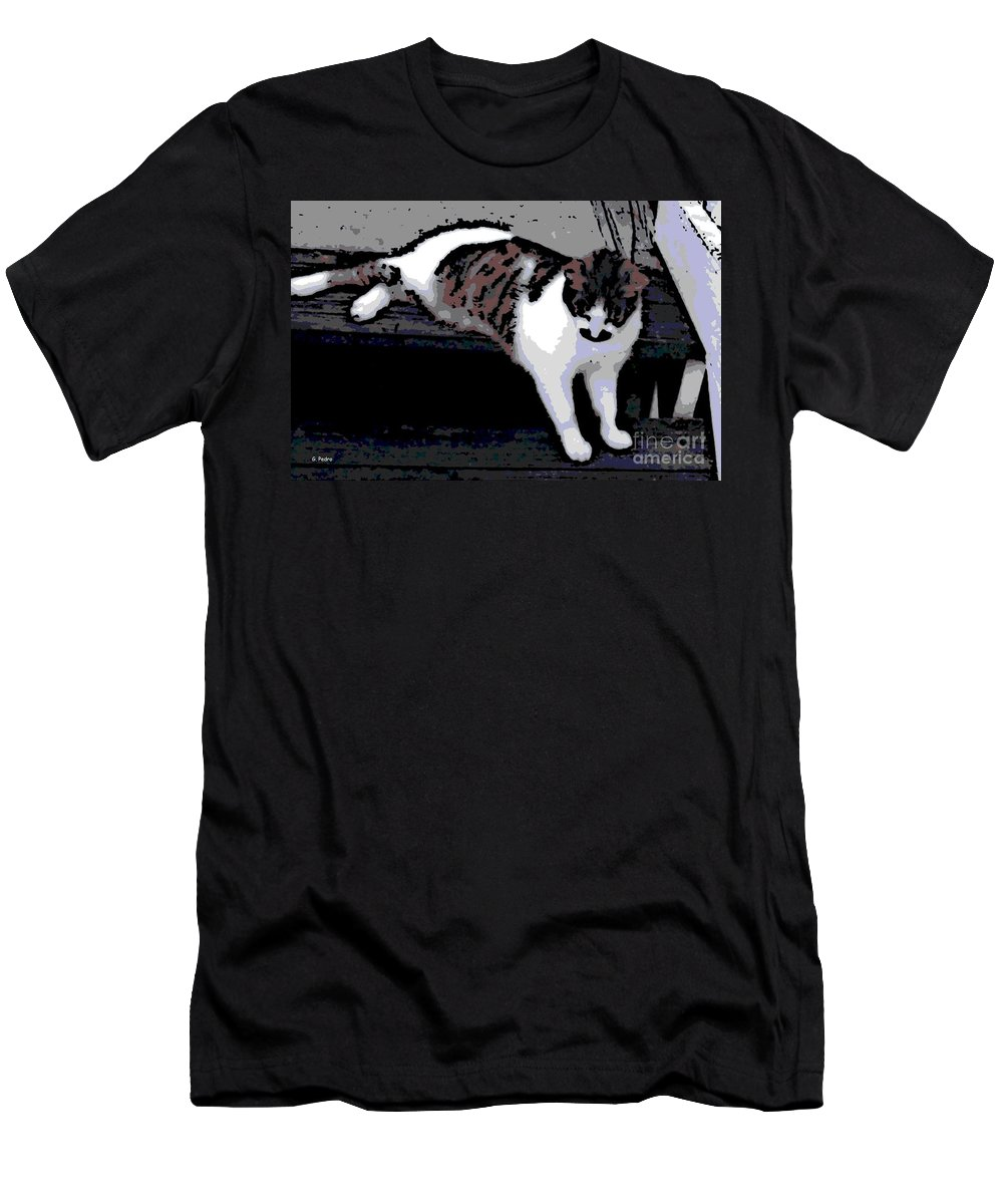 Cat Men's T-Shirt (Athletic Fit) featuring the photograph Relaxing On The Steps by George Pedro