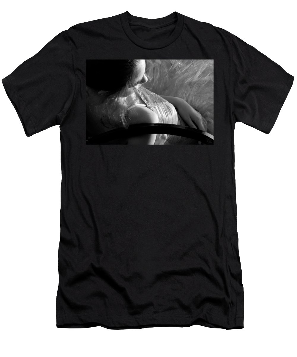 Girl Men's T-Shirt (Athletic Fit) featuring the photograph Repose Bw by Angelina Vick