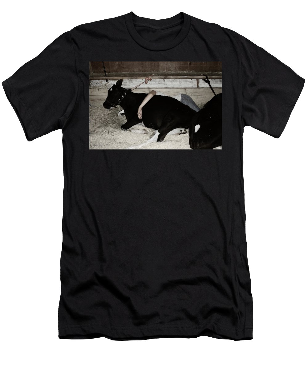 Cow Men's T-Shirt (Athletic Fit) featuring the photograph Resting The Team by Wayne King