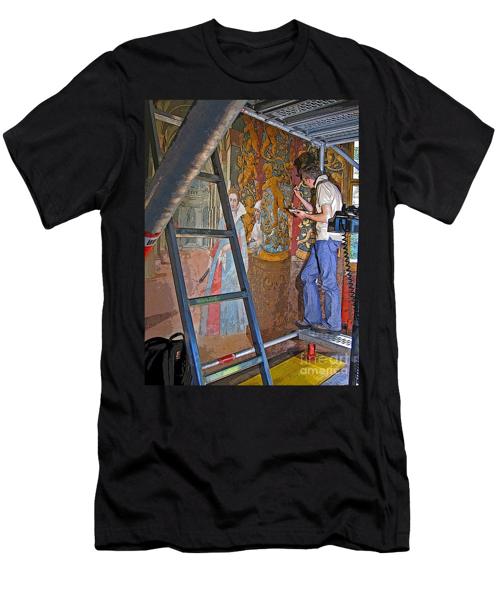 Art Men's T-Shirt (Athletic Fit) featuring the photograph Restoring Art by Ann Horn
