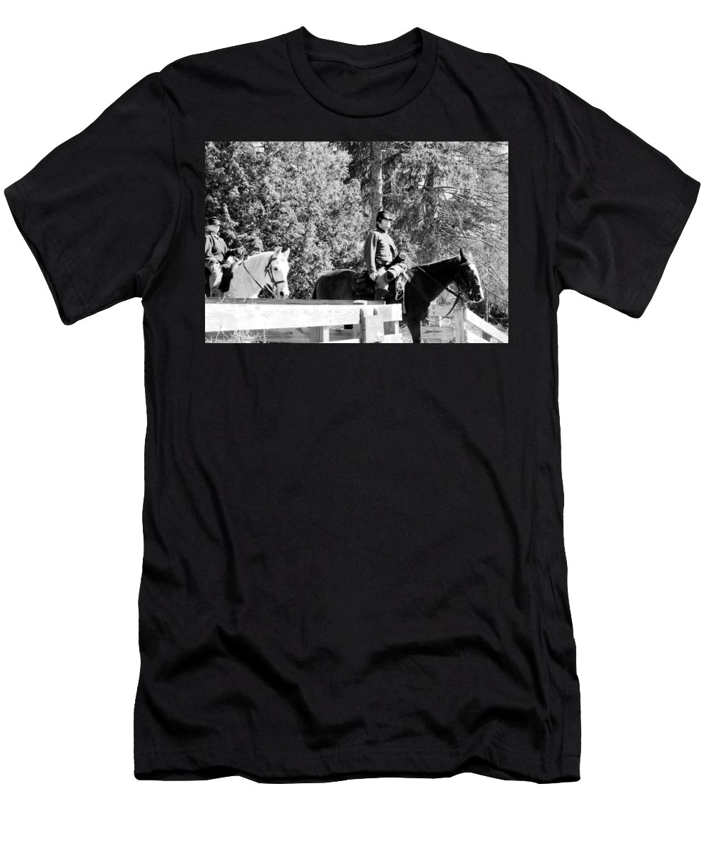 Usa Men's T-Shirt (Athletic Fit) featuring the photograph Riding Soldiers B And W II by LeeAnn McLaneGoetz McLaneGoetzStudioLLCcom