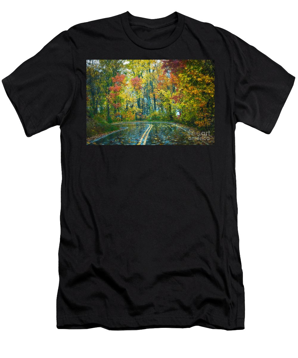 Fall Men's T-Shirt (Athletic Fit) featuring the photograph Roadway After The Rain by Anne Kitzman