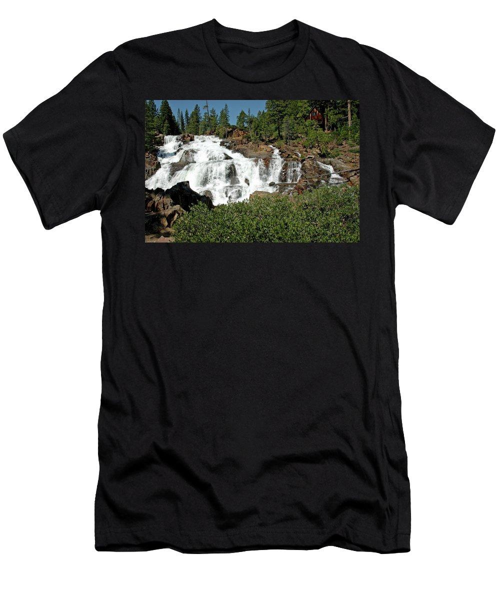 Usa Men's T-Shirt (Athletic Fit) featuring the photograph Roaring Falls Glen Alpine Falls by LeeAnn McLaneGoetz McLaneGoetzStudioLLCcom